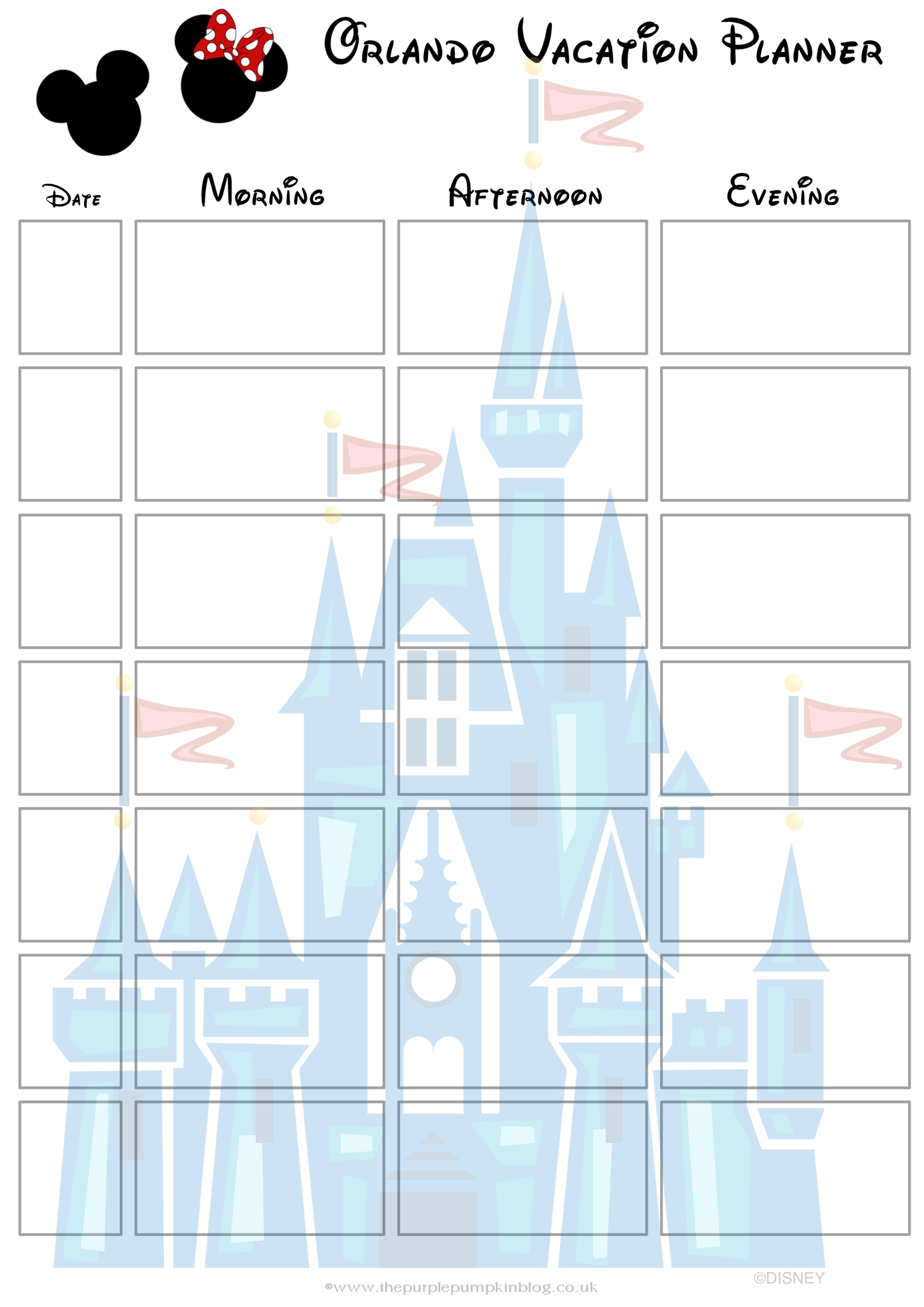 Orlando, Walt Disney World Vacation Planner | Disney Bound  1 Week Vacation Calendar Printable