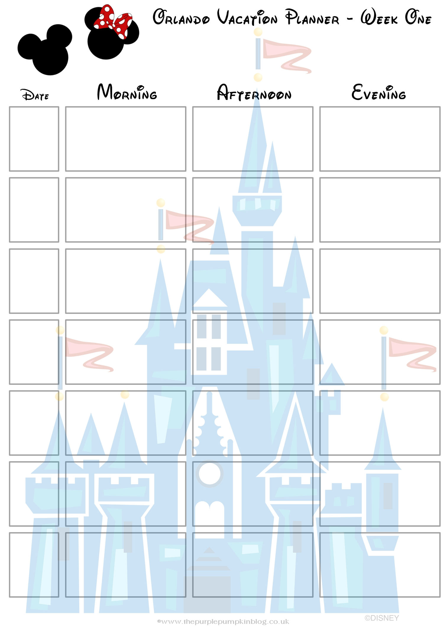 Orlando, Walt Disney World Vacation Planner | Disney | Pinterest  Disney World Itinerary Template Blank