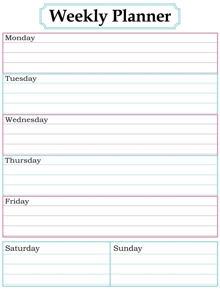 Pincandace Pratt On Planning And Organization - Printables  Free Printable Weekly Planner Calendars