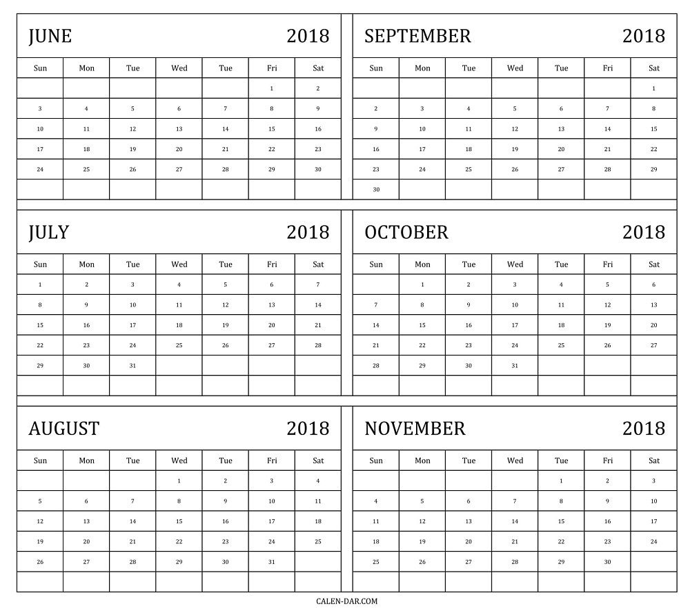 Print June To November Calendar 2018 Template With Notes | 2018  Free Printable 6 Month Calendar