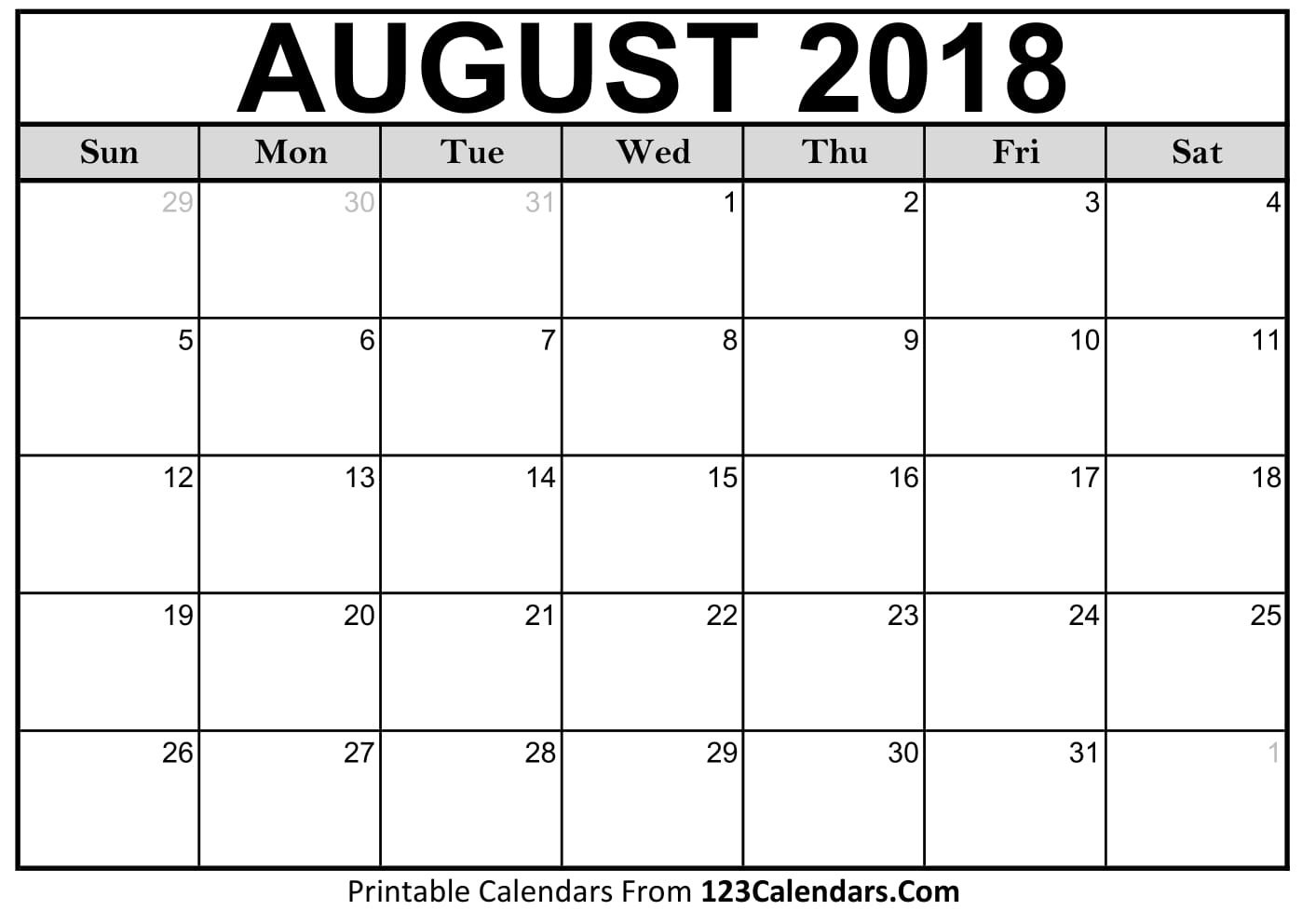 Printable August 2018 Calendar Templates - 123Calendars  Picture Of August On Calendar