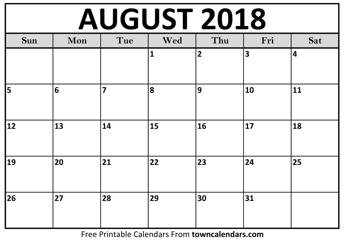 Printable August 2018 Calendar - Towncalendars  Picture Of August On Calendar