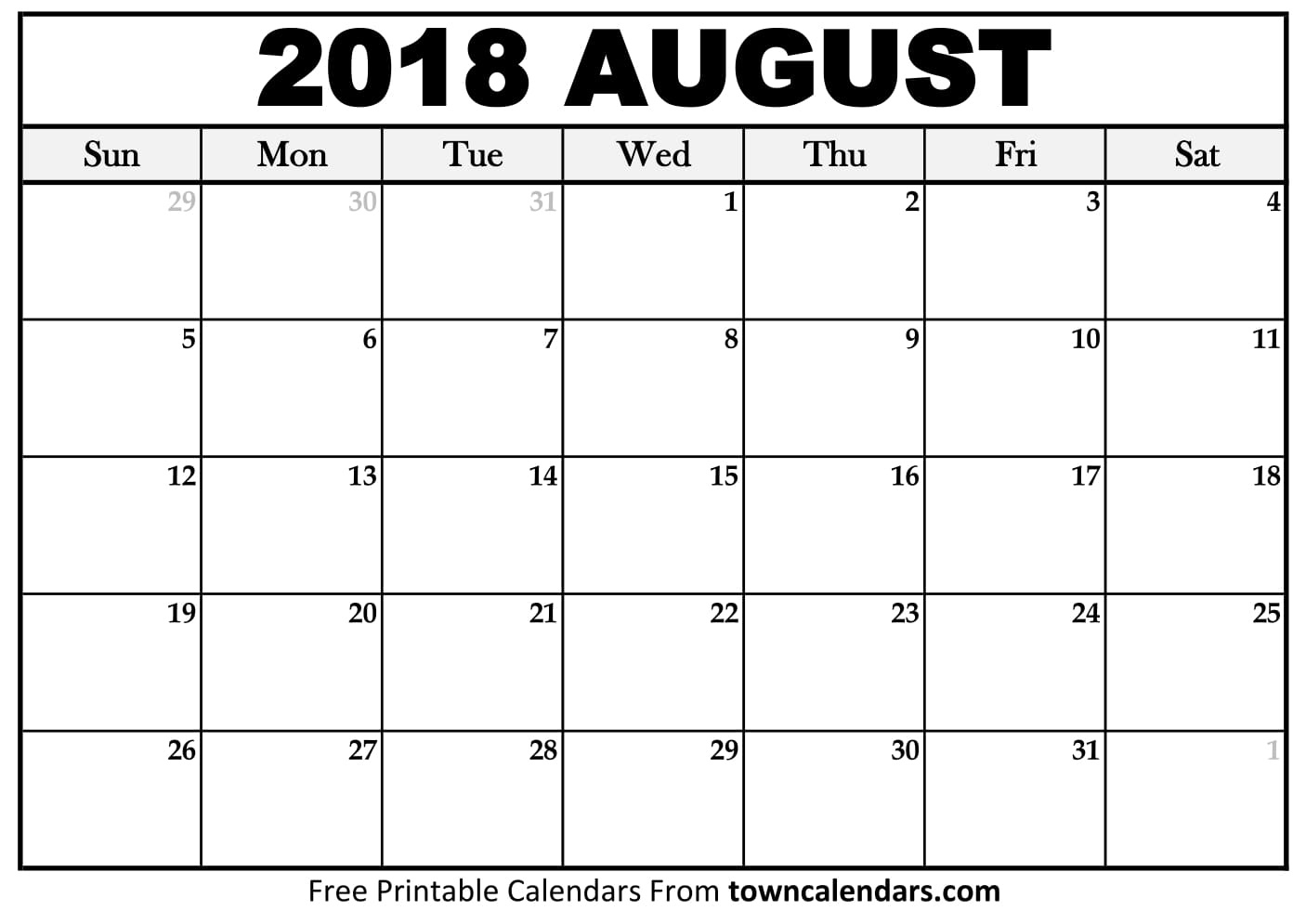Printable August 2018 Calendar - Towncalendars  Picture Of August On Calendar