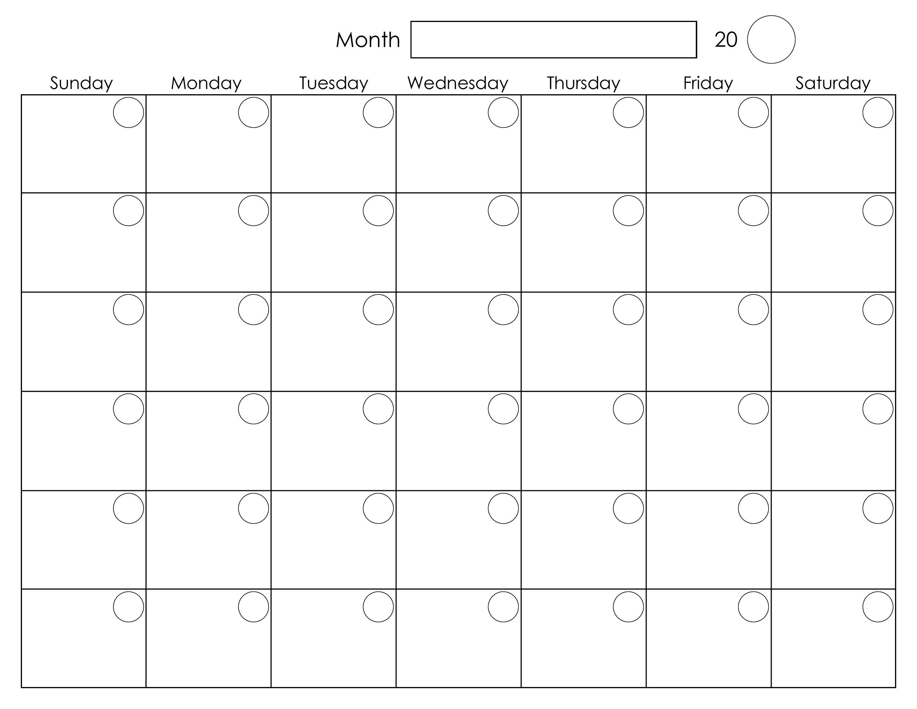 Printable Blank Monthly Calendar | Calendar Template Printable  Fill In Calendar Template Printable