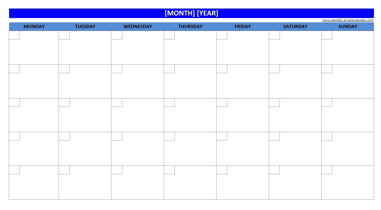 Printable Blank Monthly Calendar | Calendar Template Printable  Printable Neon 12 Month Blank Calendar