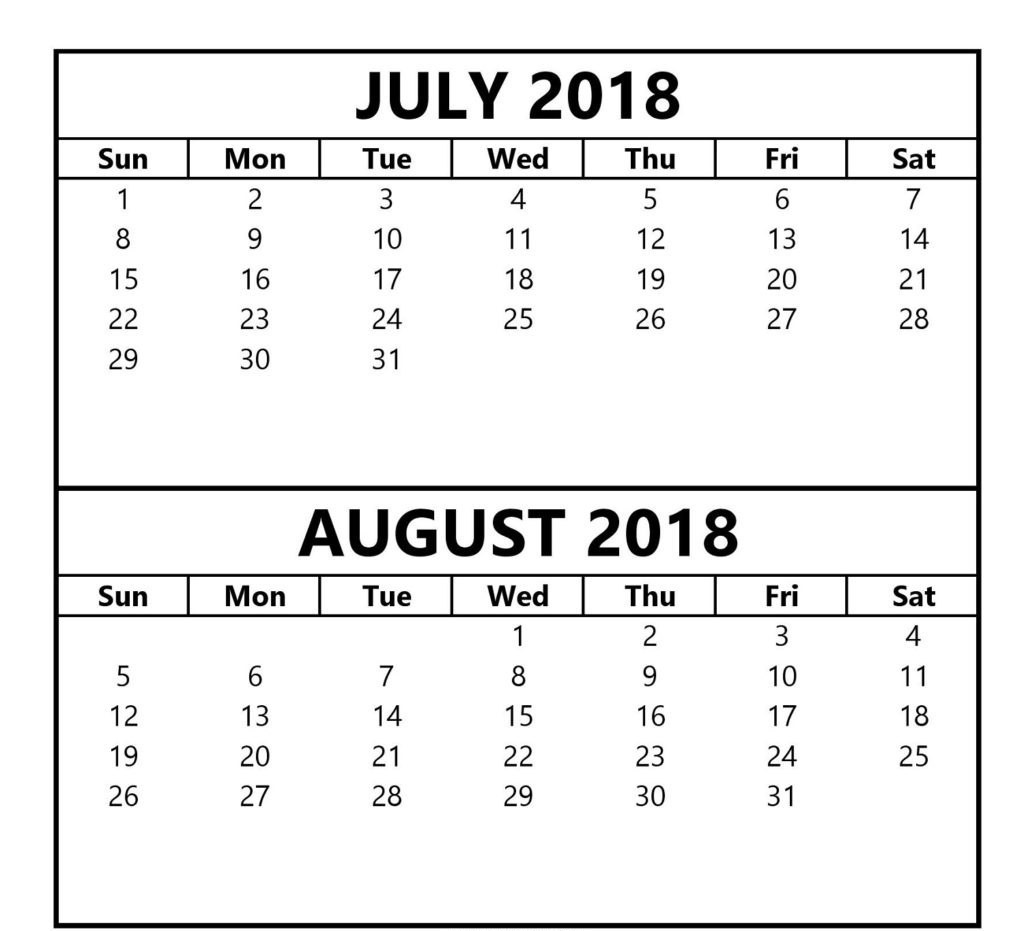 Printable Calendar July August 2018 – Printable Calendar 2018  July And August Blank Calendar