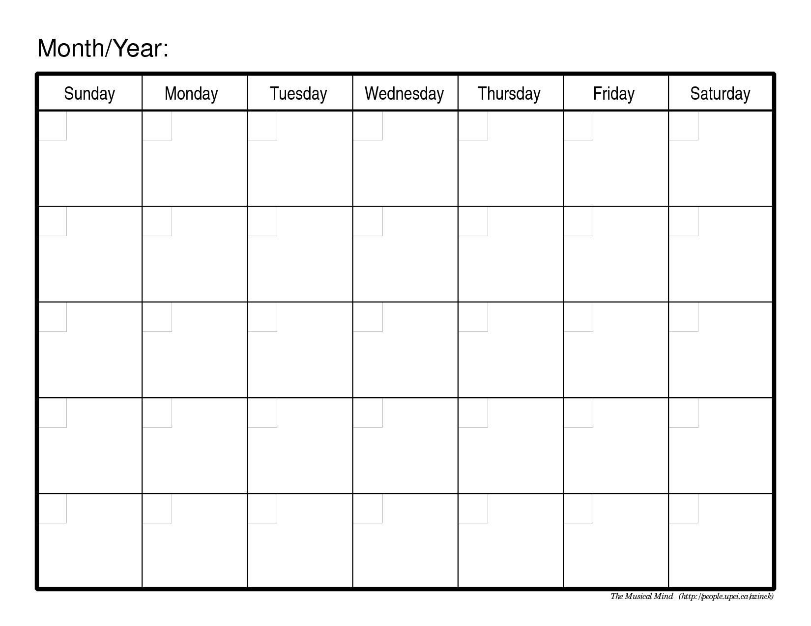 Printable Calendar - Techflourish Collections  Fill In Calendar Template Printable