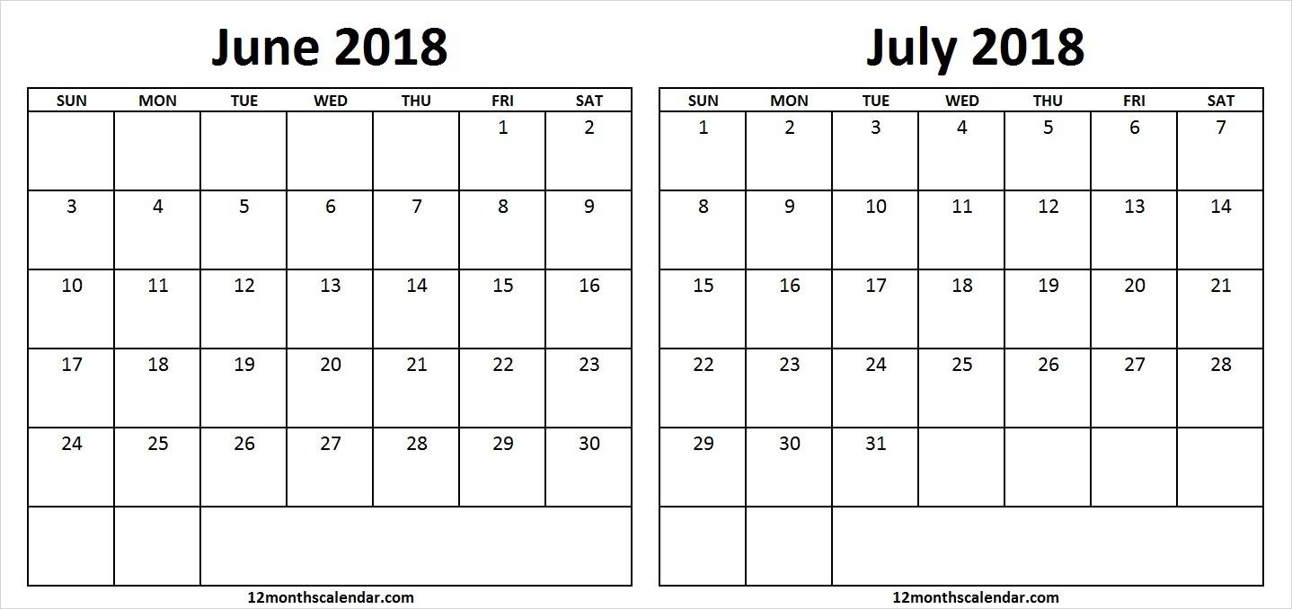 Printable June July 2018 Calendar Monthly Goals | 12 Month Calendar  June And July Monthly Calendar