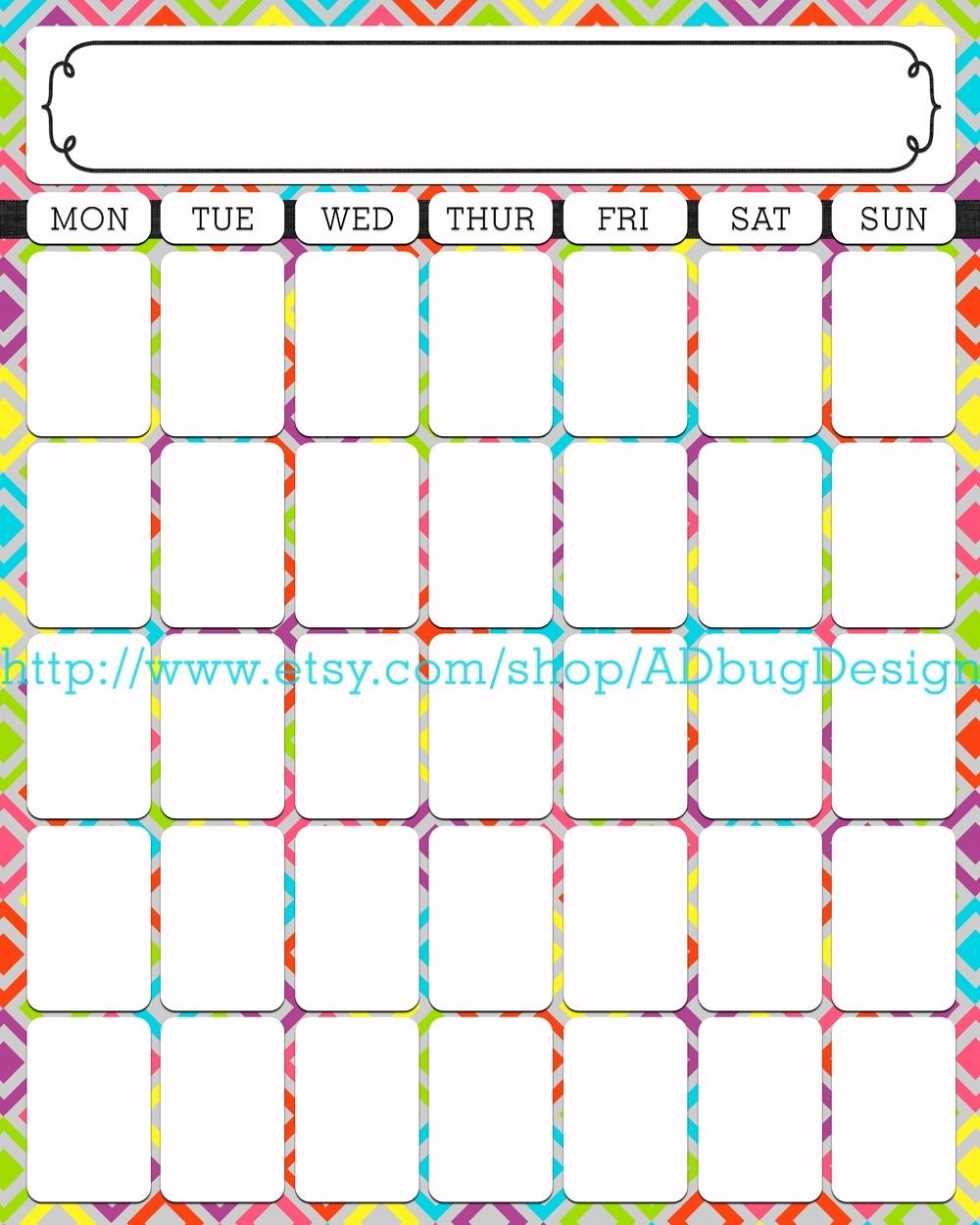 Printable Neon 12 Month Blank Calendar | Calendar Template Printable  Printable Neon 12 Month Blank Calendar