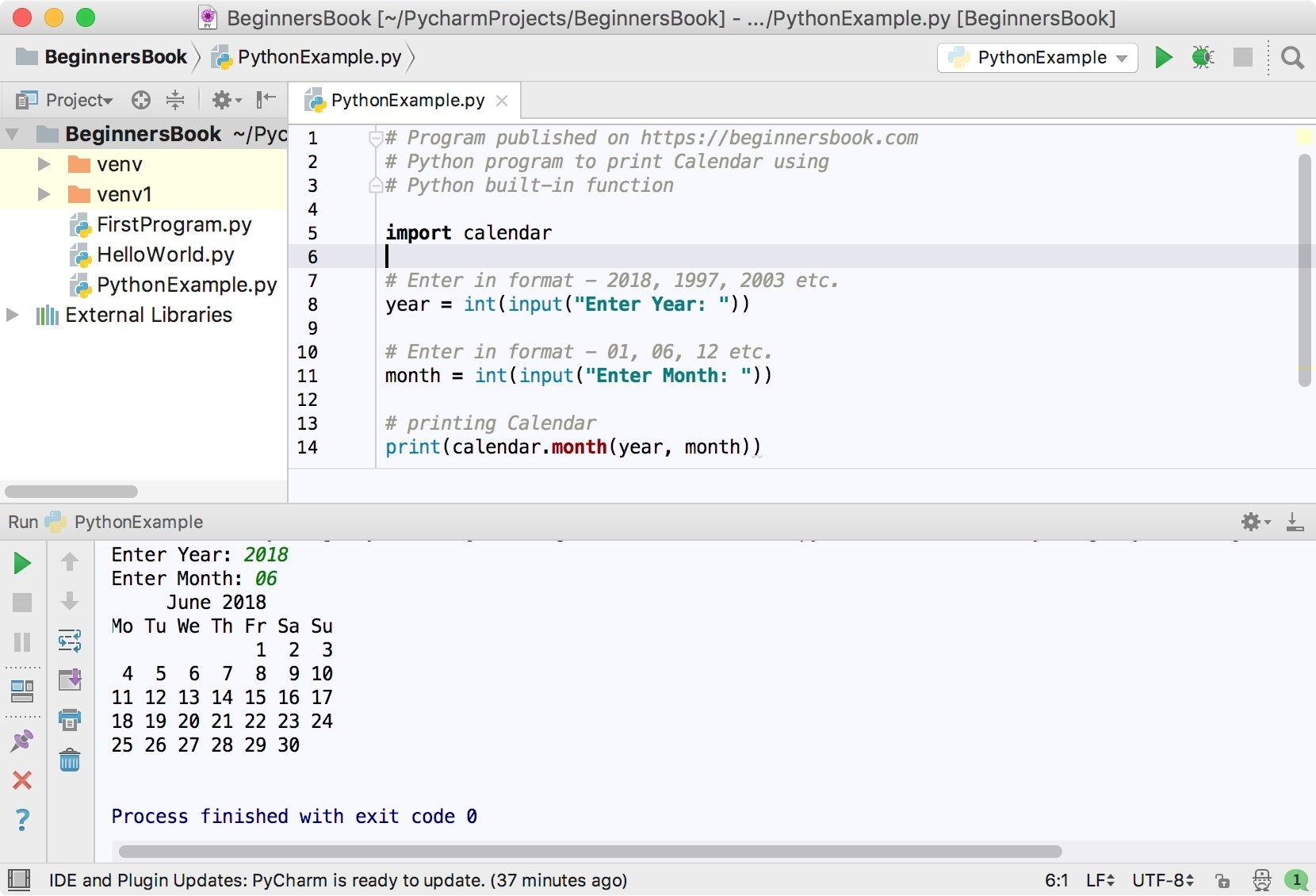 Python Program To Print Calendar  Example Of Calendar Month Python 3