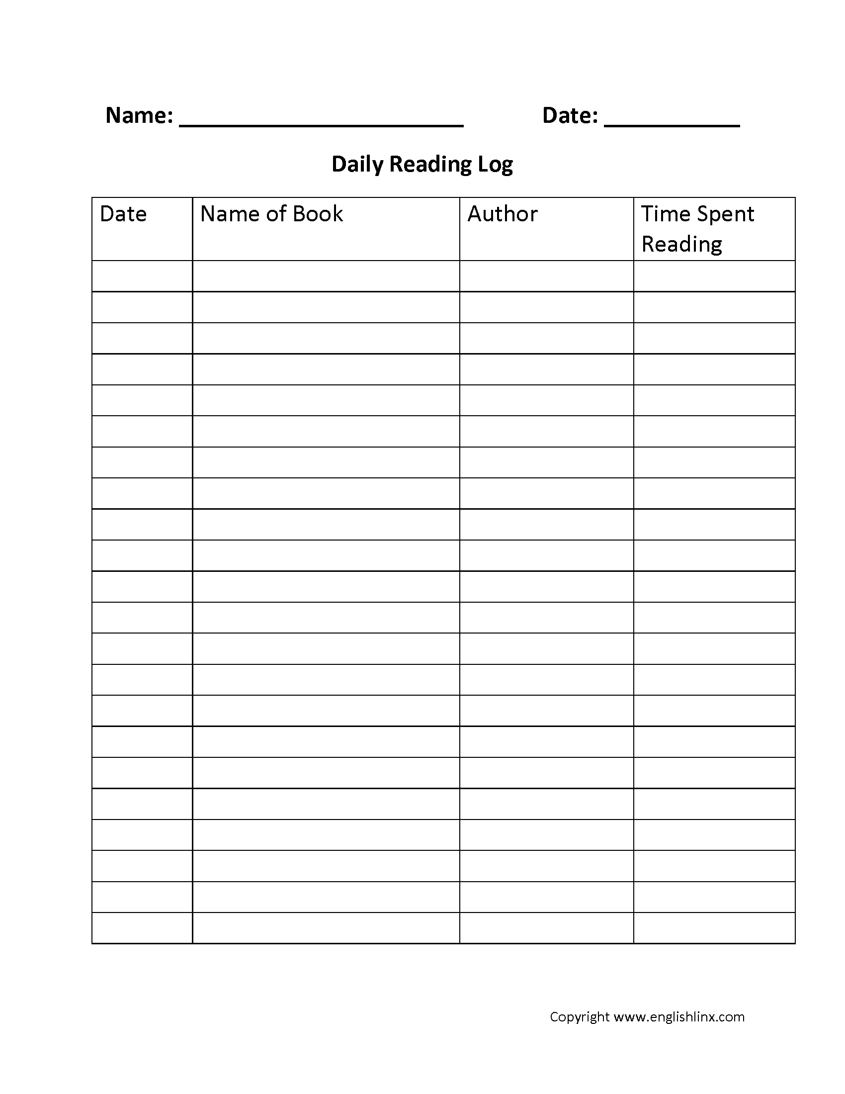 Reading Worksheets | Reading Logs  4Th Grade Reading Log Printable