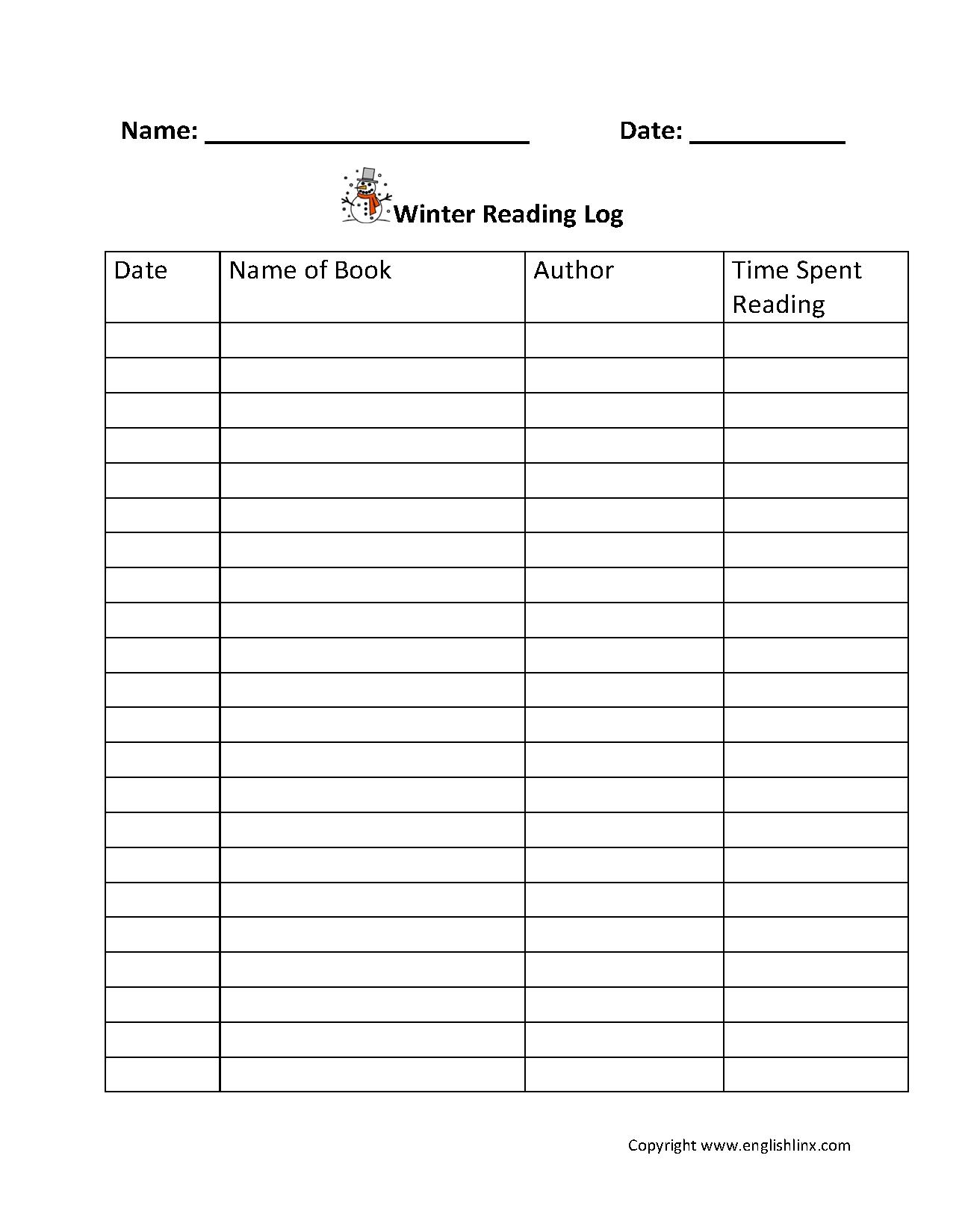 Reading Worksheets | Reading Logs  4Th Grade Reading Log Printable
