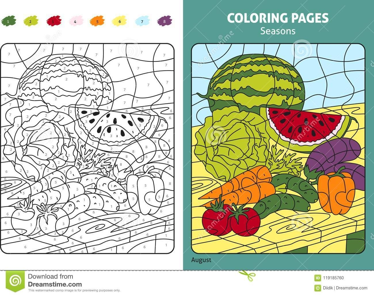 Seasons Coloring Page For Kids, August Month Stock Vector  August Printable Images To Color
