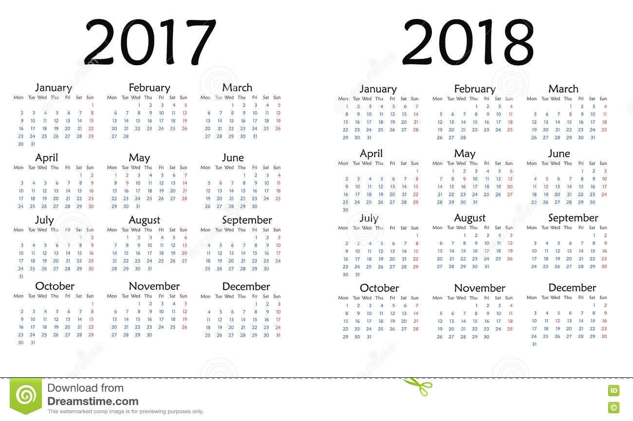 Simple Calendar For 2017 And 2018 Year . Stock Illustration  Printable Neon 12 Month Blank Calendar