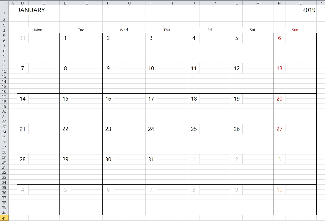 Simple Excel Calendar Template  Blank Excel Spreadsheet With Calendar