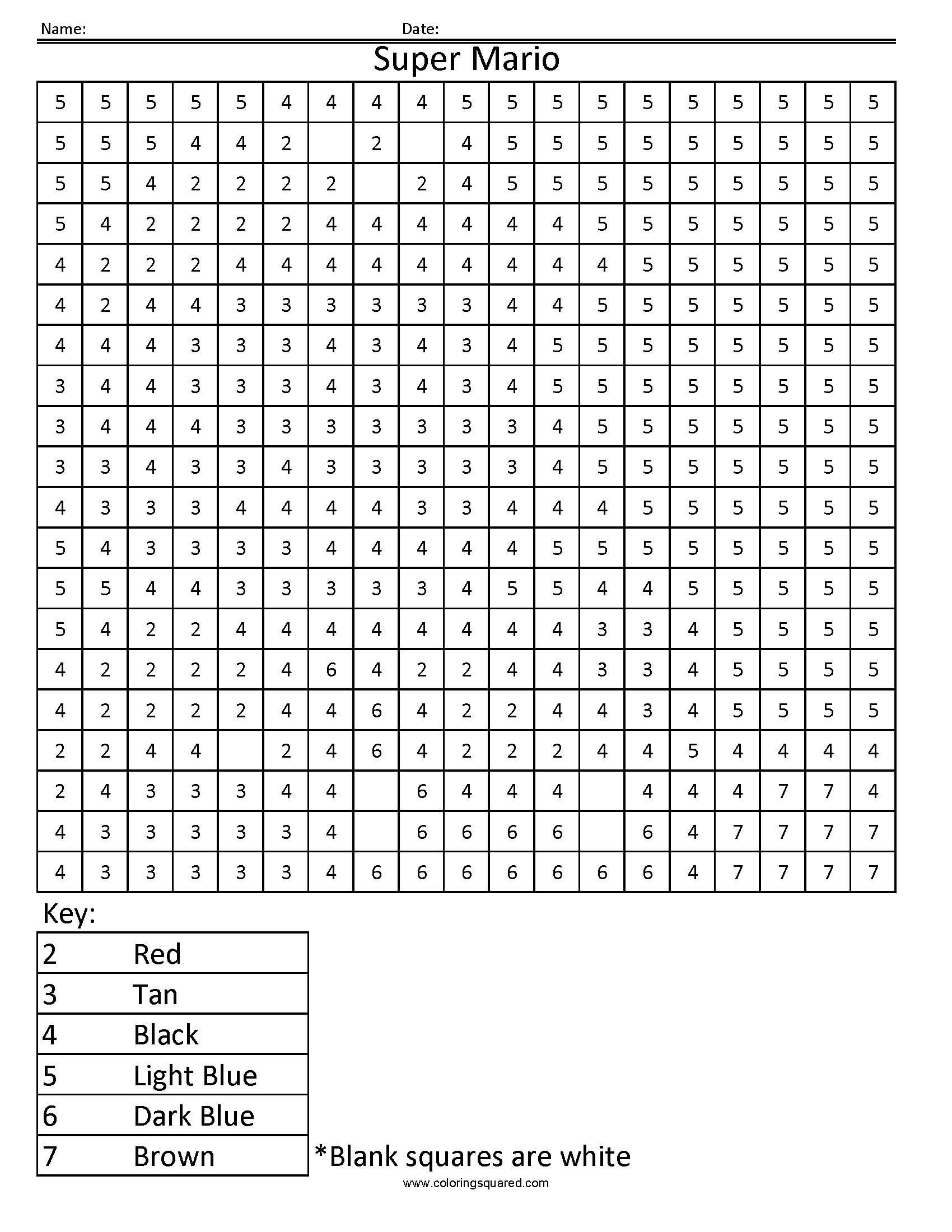 Super Mario- Colornumber   Coloring Sheets   Pinterest  Colouring In Square Sheets For Year Three No Color