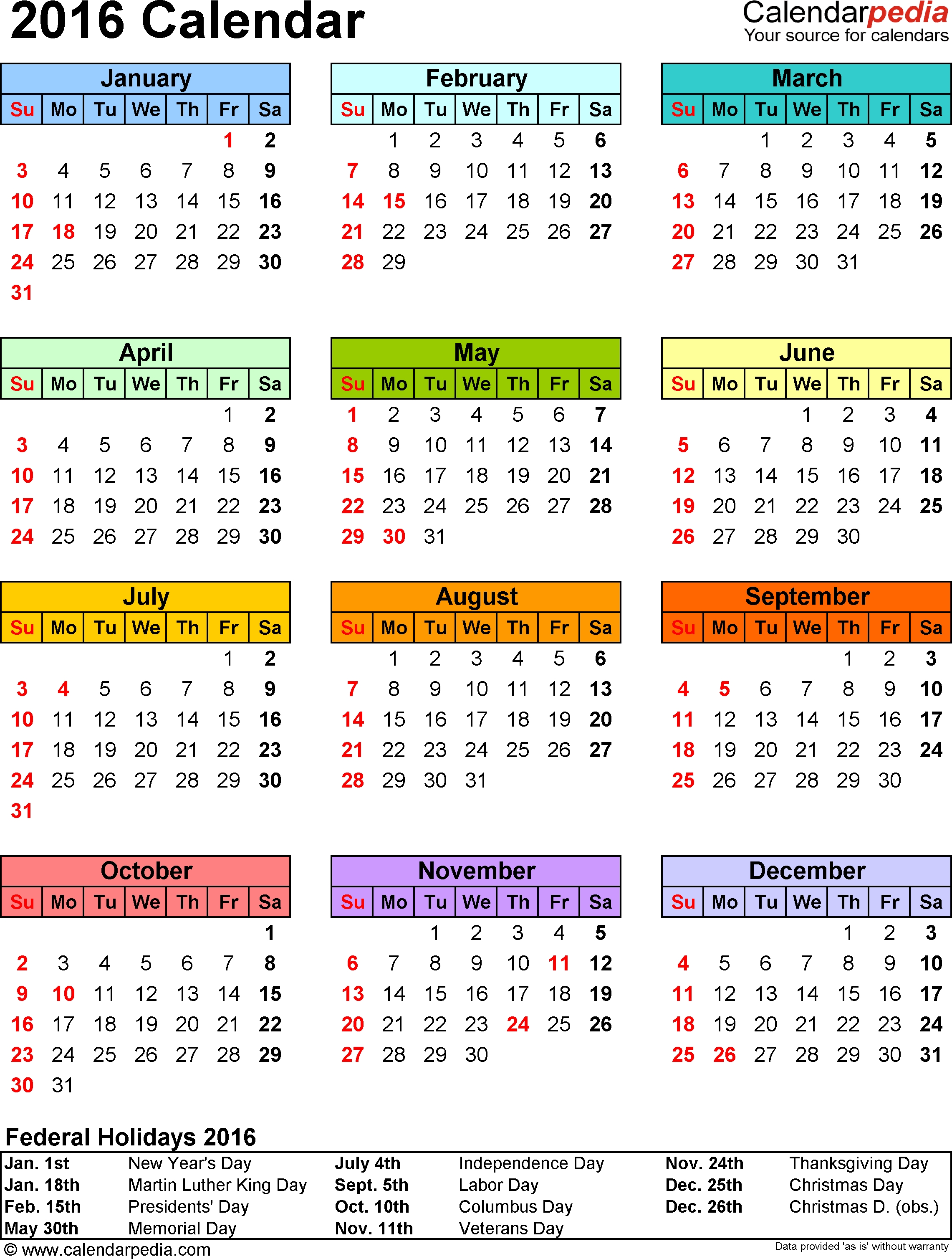 Template 9: 2016 Calendar For Excel, Year At A Glance, 1 Page, In  2014 Calendar Printable Yearly Calendars
