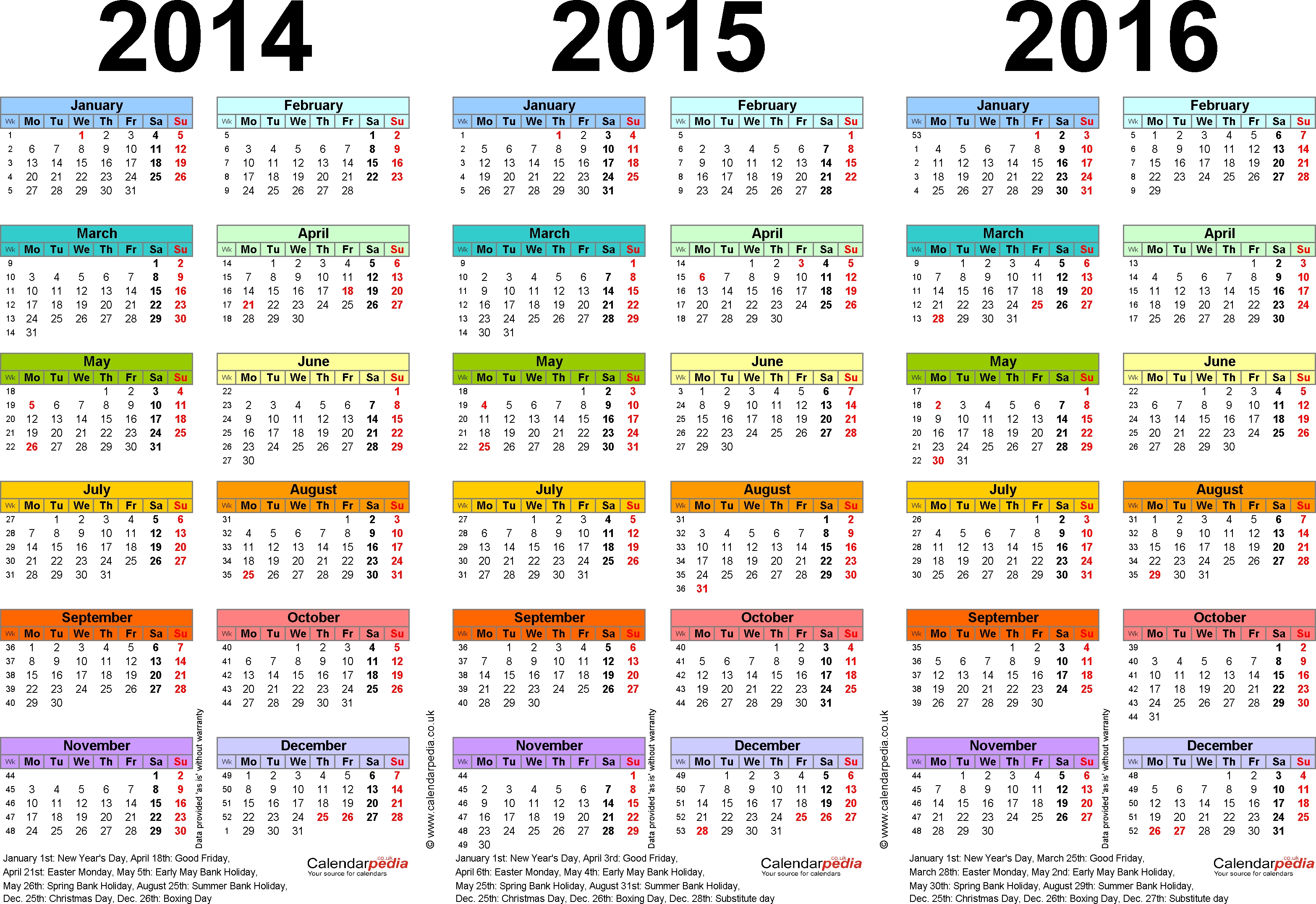 Three Year Calendars For 2014, 2015 & 2016 (Uk) For Pdf  Printable Yearly Calendar 2014 2015