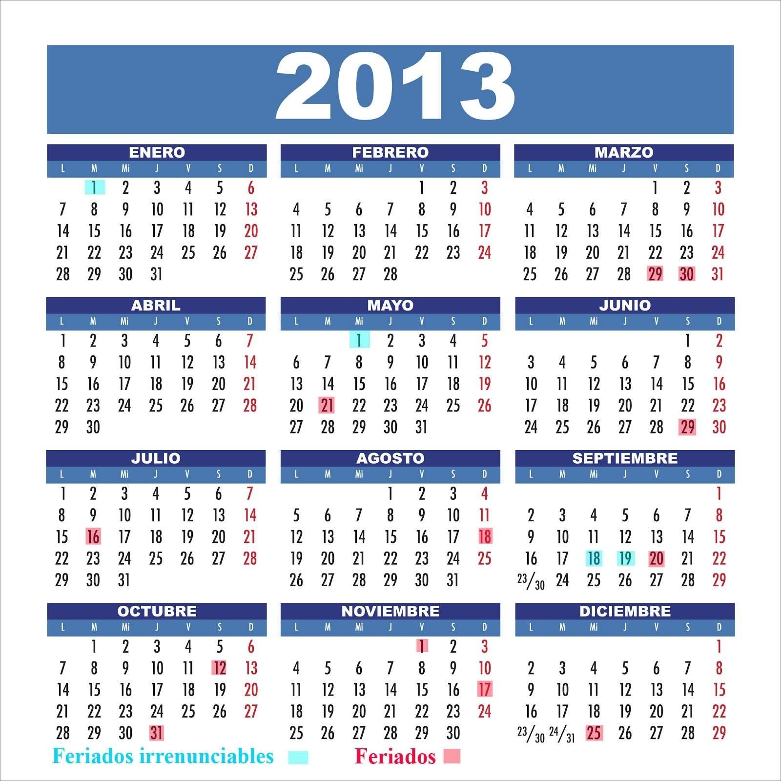 Todos Los Feriados 2014 - Semana Santa 2014: Calendario 2013 Chile  Calendarios 17 Feriados En Chile