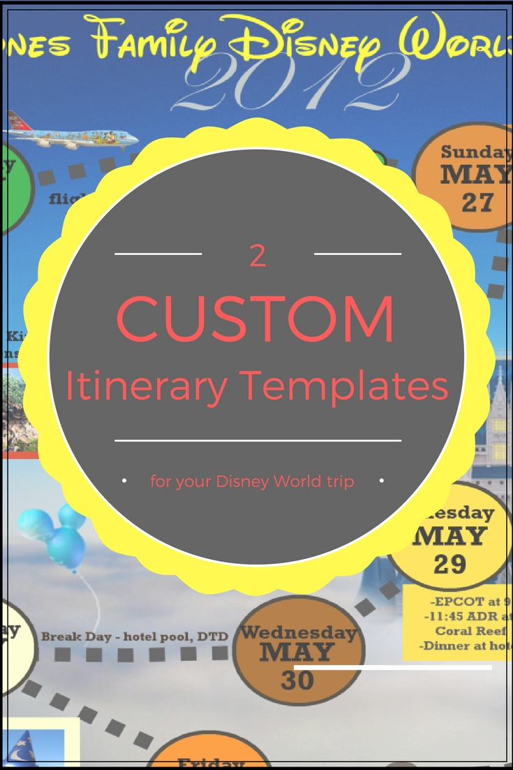 Wdw Itinerary Templates - Free & Printable - Available In Both Word  Disney World Itinerary Template Blank