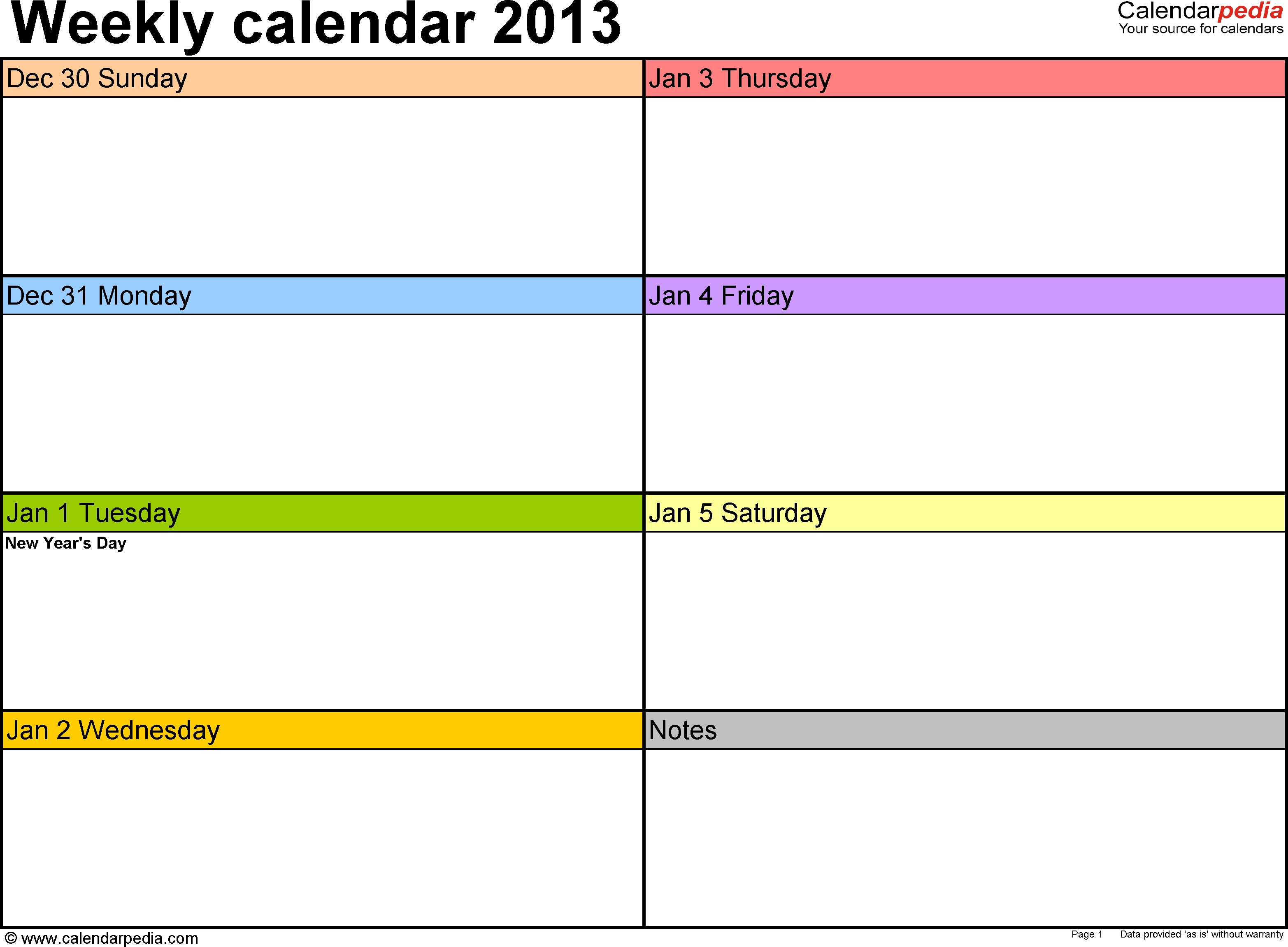 Weekly Calendar 2013 For Excel - 4 Free Printable Templates  Blank Weekly Calendar Template Free