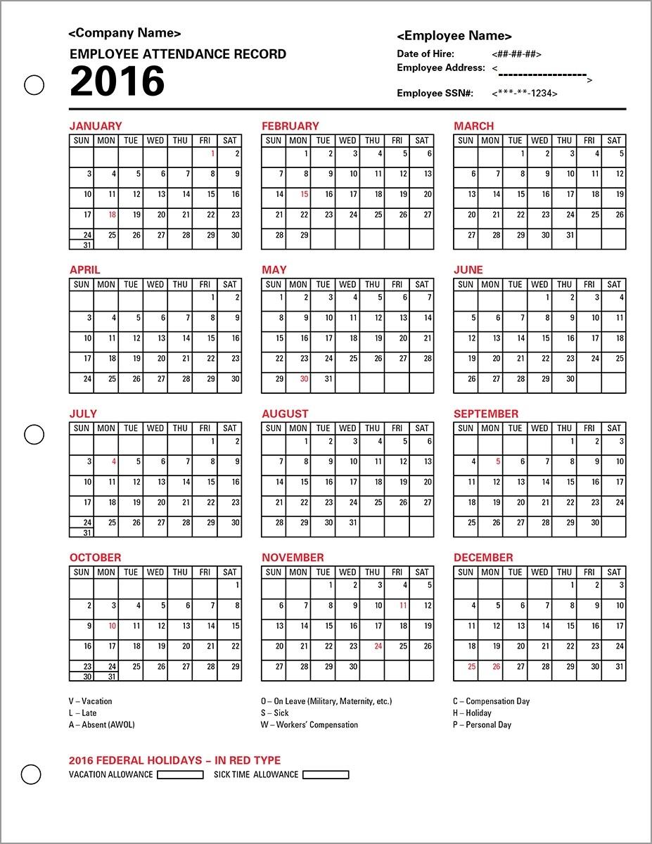 0000407 Adp Employee Attendance Record Calendar At Employee  Blank Employee Attendance Calendar Monthly