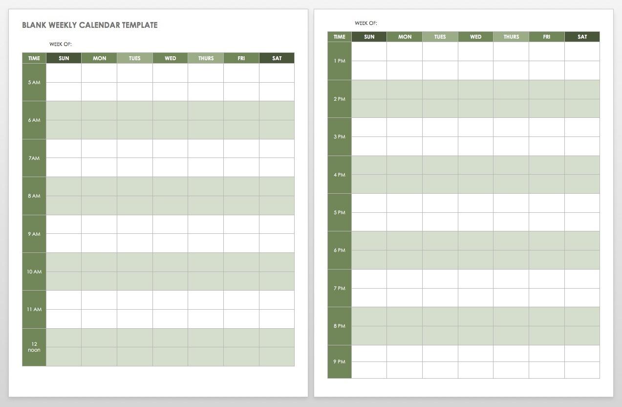 15 Free Weekly Calendar Templates | Smartsheet  Blank Week Calender With Times