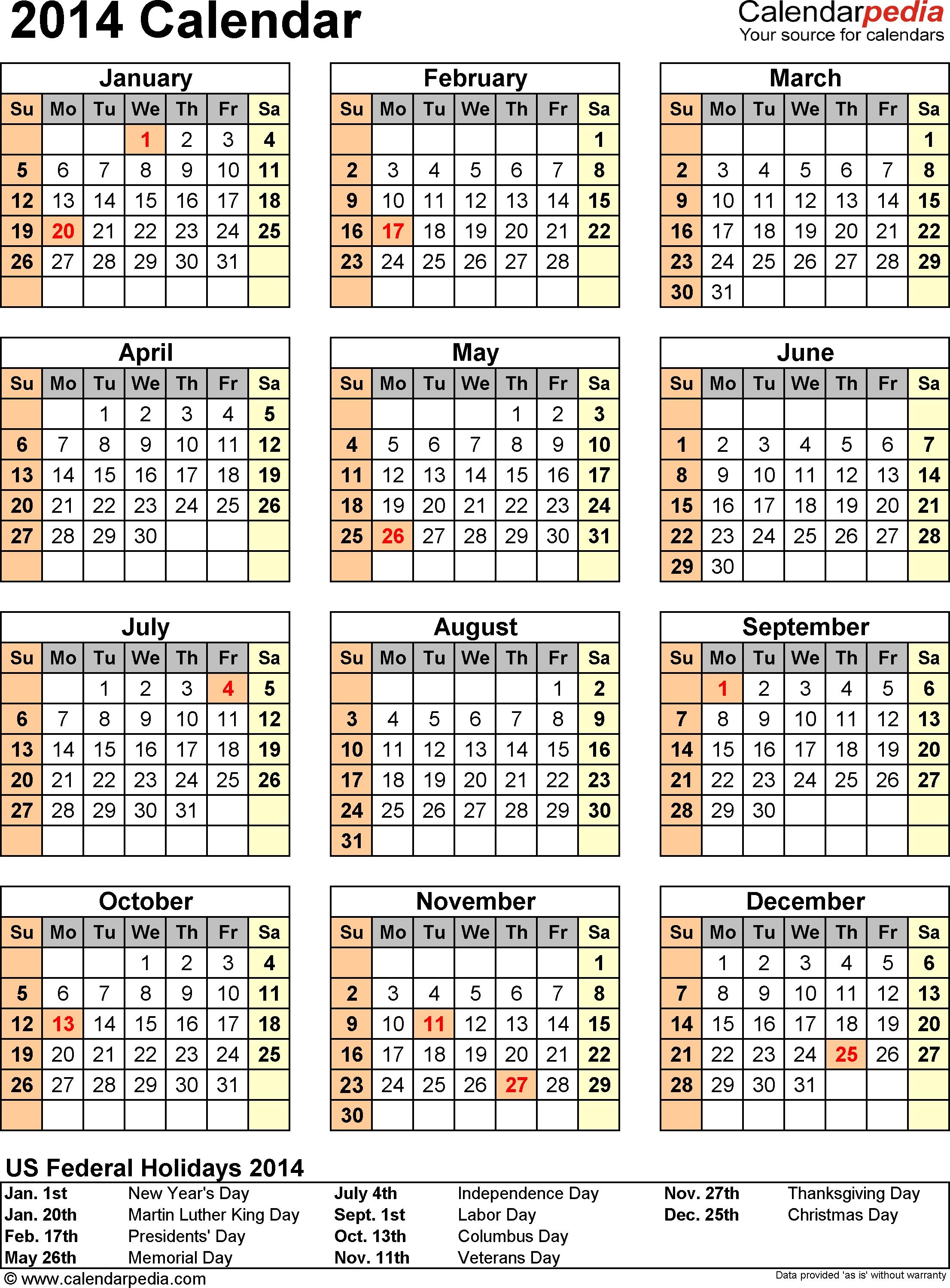 2014 Calendar - 13 Free Printable Word Calendar Templates  2014 Calendar Printable Full Page