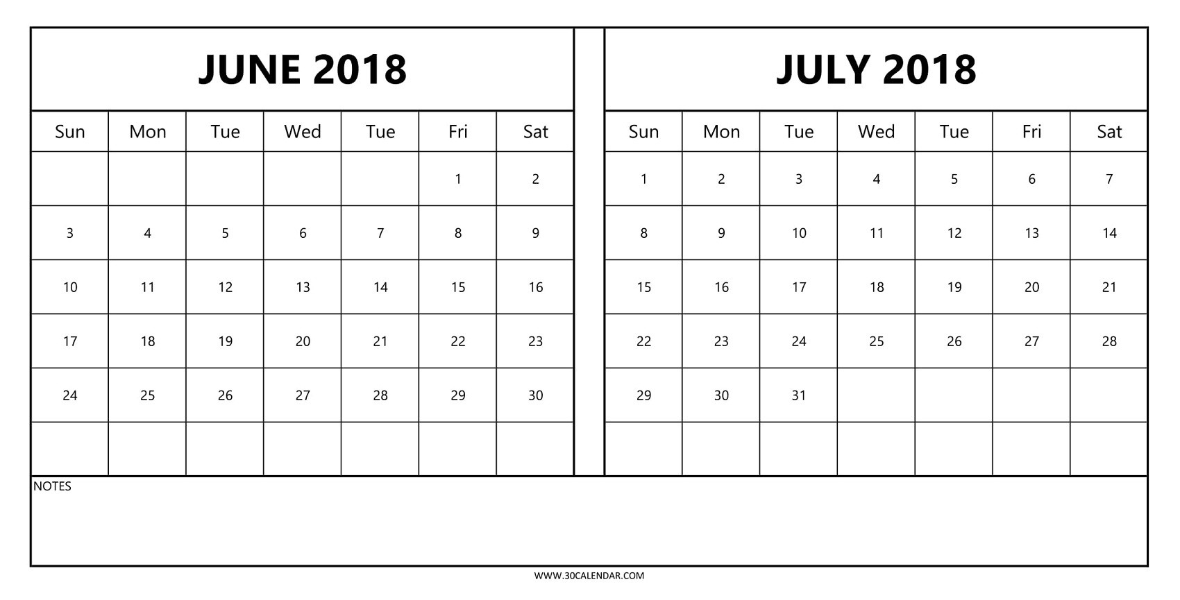 2018 Calendar June July Printable | 2 Monthly Template To Print  Calendar For June July