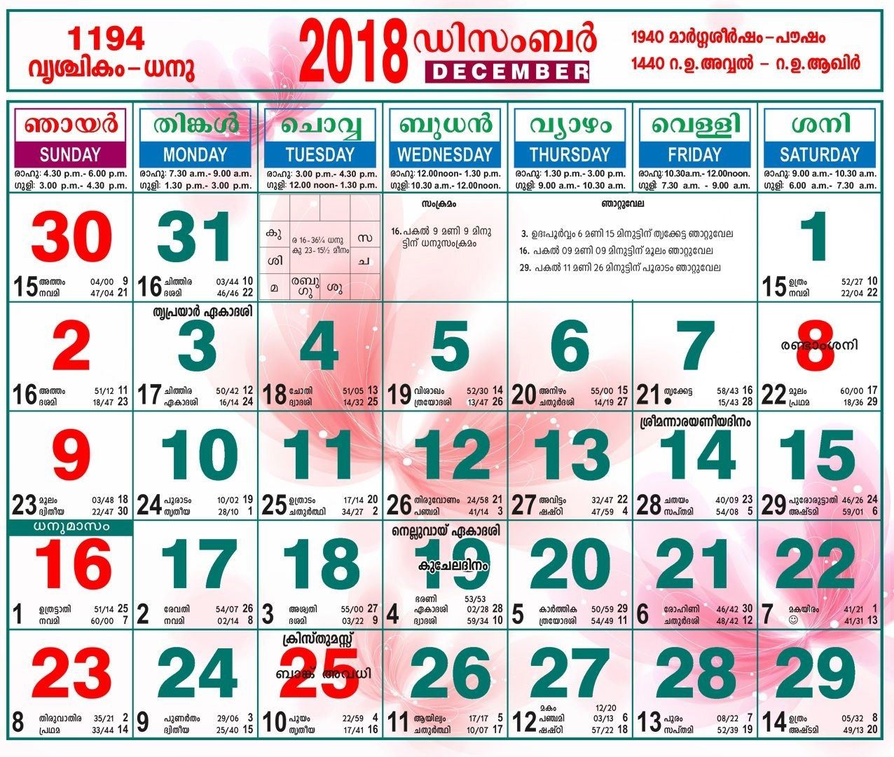 2018 November Calendar Malayalam | November Calendar | November  Malayalam Calender Of This Month