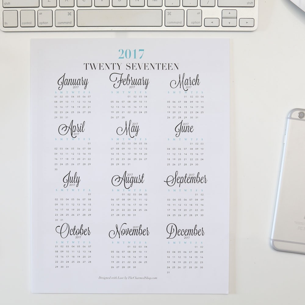 2018 Year At A Glance Calendar Printable {Letter/a4, A5, Half Letter  Year At A Glance Calendars Printable
