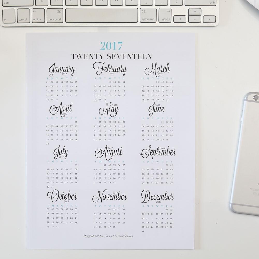 2018 Year At A Glance Calendar Printable {Letter/a4, A5, Half Letter  Year At A Glance Calendars Printable