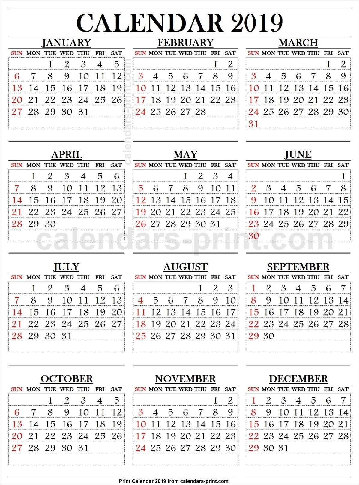 2019 Calendar Large Numbers | 2019 Yearly Calendar | 2019 Calendar  Free Template Printable Calendar Numbers