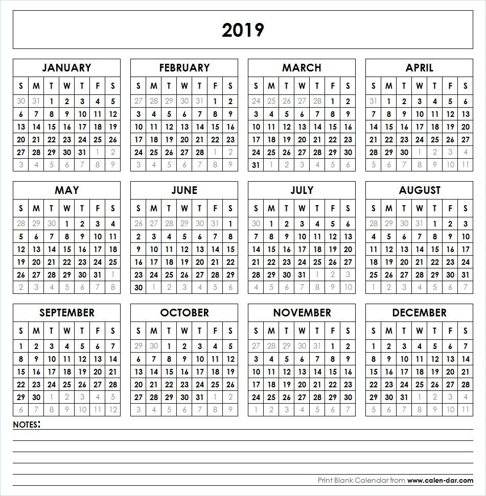 2019 Printable Calendar | Yearly Calendar | 2018 Printable Calendar  Free Template Printable Calendar Numbers