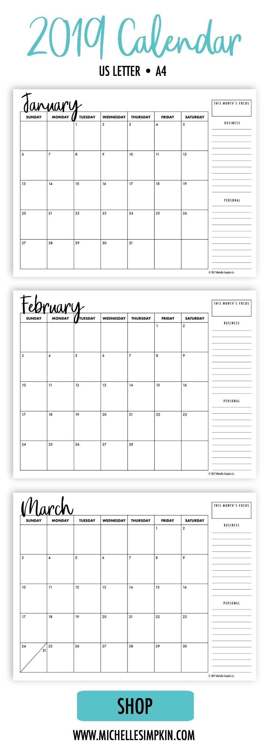2019 Printable Monthly Calendars • Landscape • Us Letter • A4  Calendar Blank Printable Monday Start A4