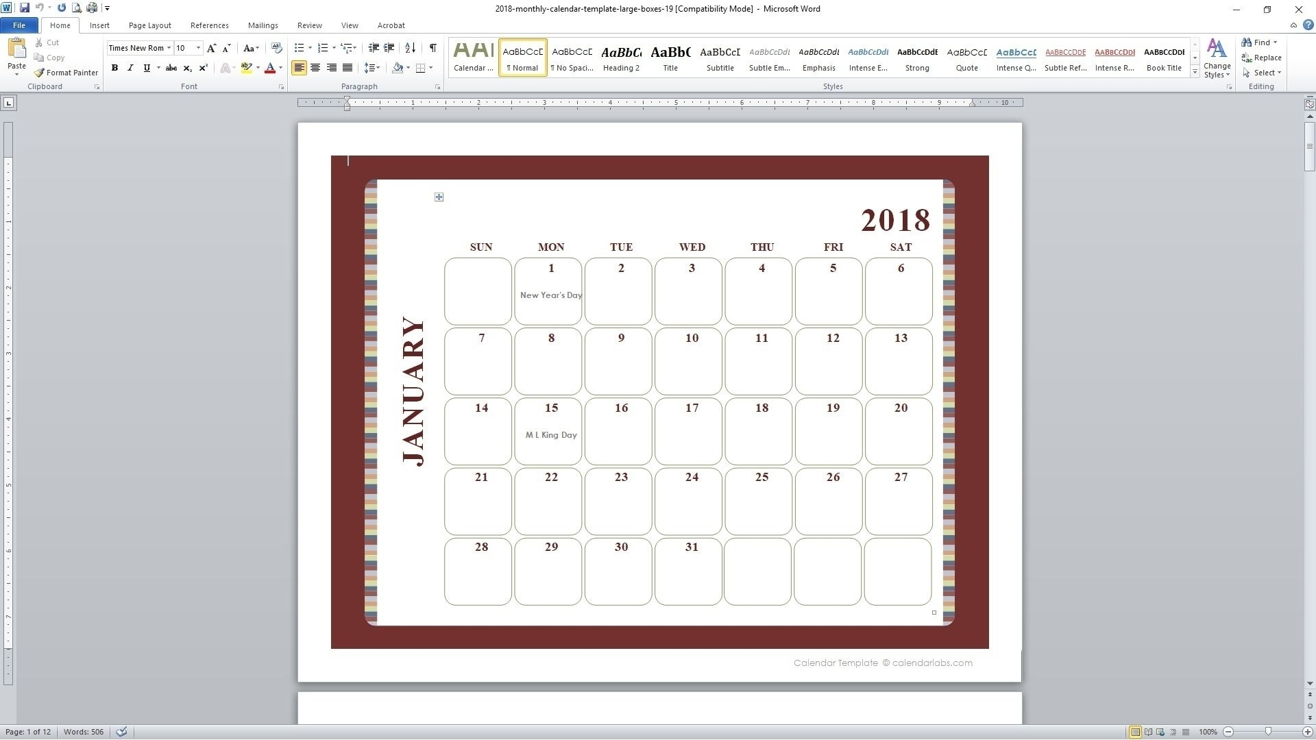 5 Day Monthly Calendar Free • Printable Blank Calendar Template  Printable 5 Day Monthly Calendar