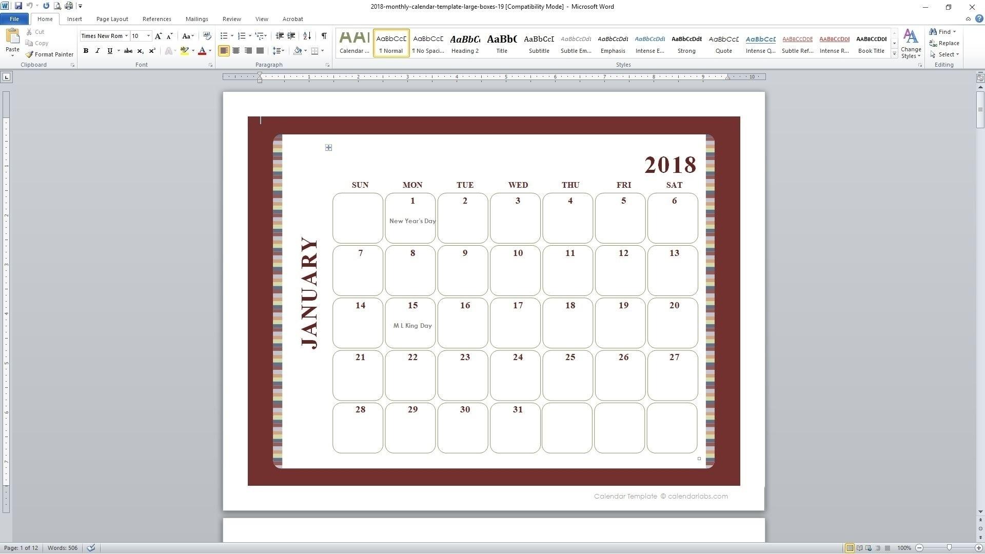 5 Day Monthly Calendar Free • Printable Blank Calendar Template  Printable 5 Day Monthly Calendar