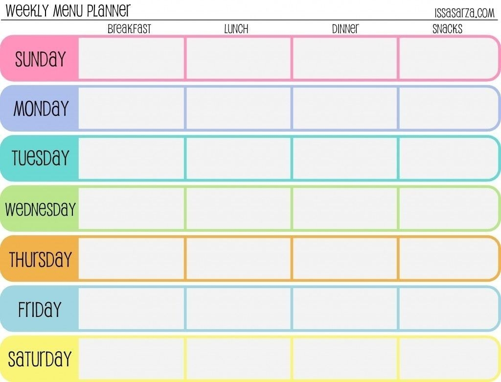 7 Day Weekly Planner Template - Yeniscale.co 7 Day Weekly Planner  Calendar Weekly Menu Print Outs