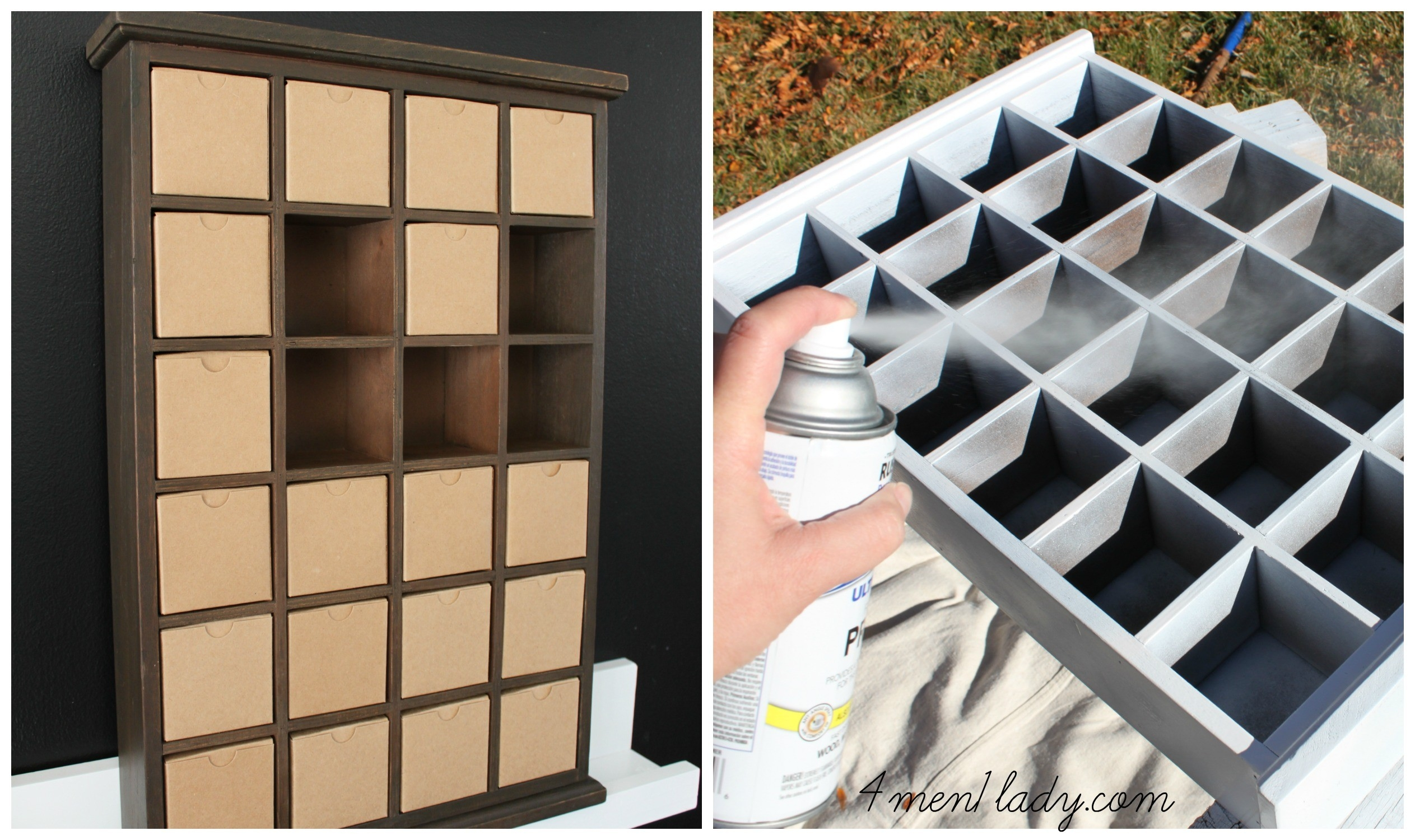 Advent Shadow Box Makeover.  Wooden Shadow Box Advent Calendar