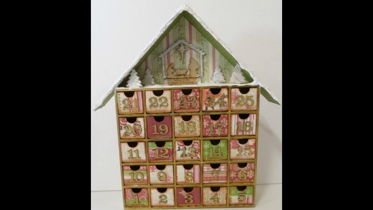 Altered Advent Calendar House Shadow Box:christmas Count Down - Youtube  Wooden Shadow Box Advent Calendar