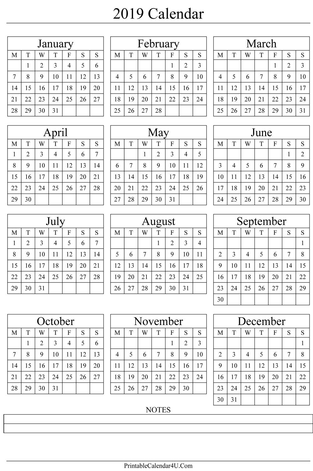 Annual Calendar 2019 Portrait Printable Calendar 2017 | Gift Ideas  Free Template Printable Calendar Numbers