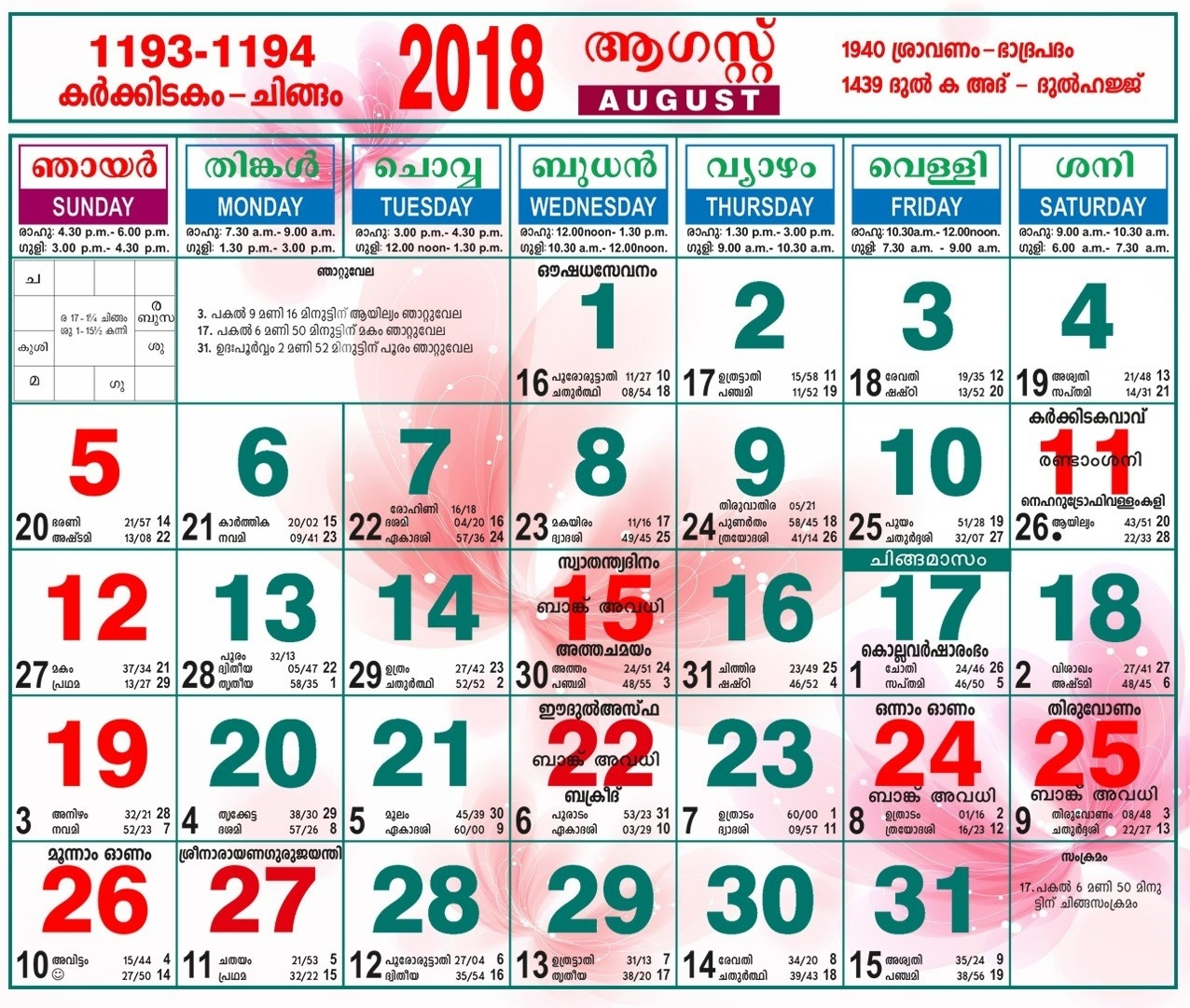 August 1996 Calendar And Malayalam Days | Holidays Calendar Template  1996 August 29 Malayalam Calendar