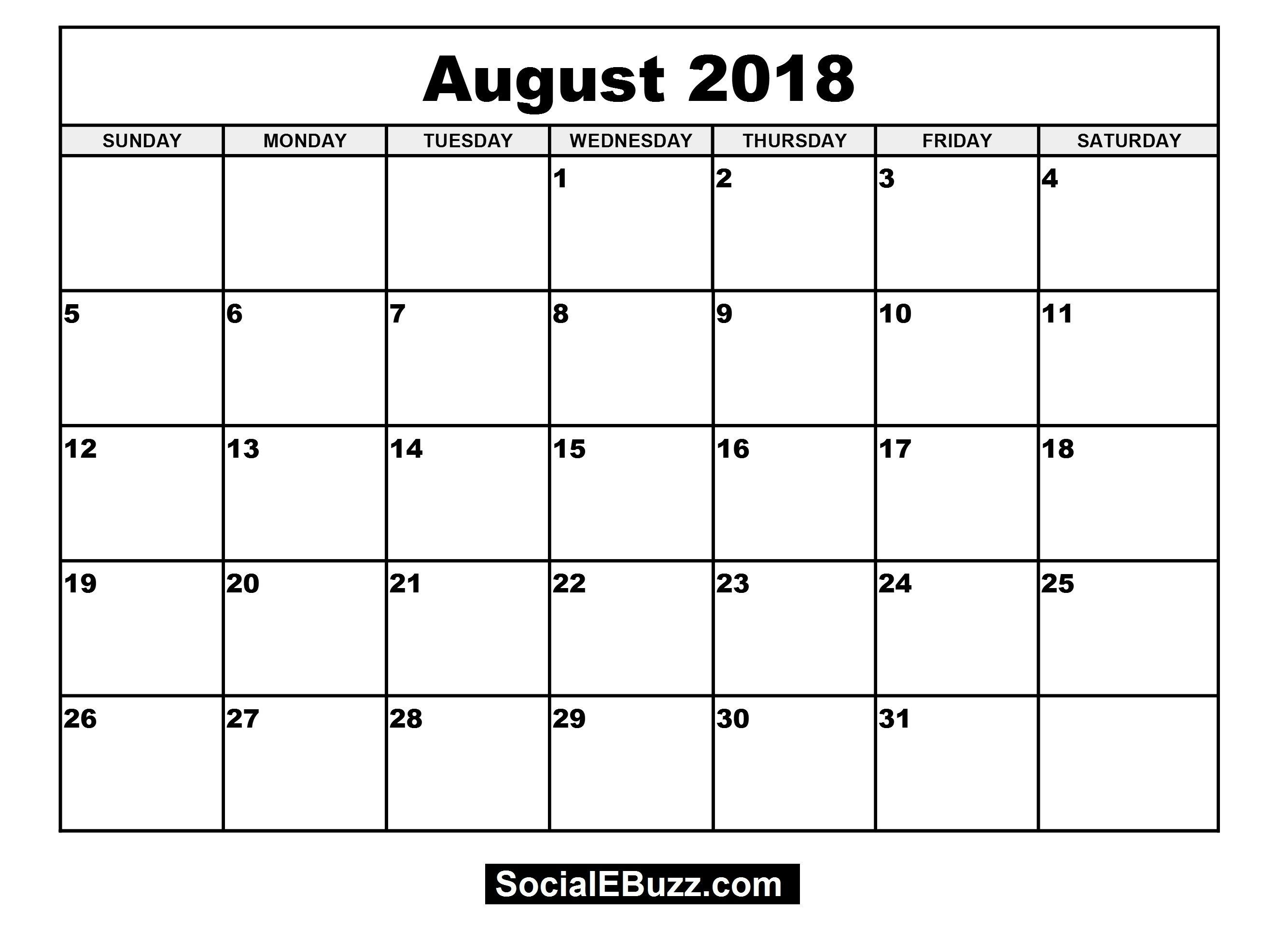 August 2018 Blank Calendar – Celo.yogawithjo.co 3 Month Printable  3 Month Printable Calendar Online August