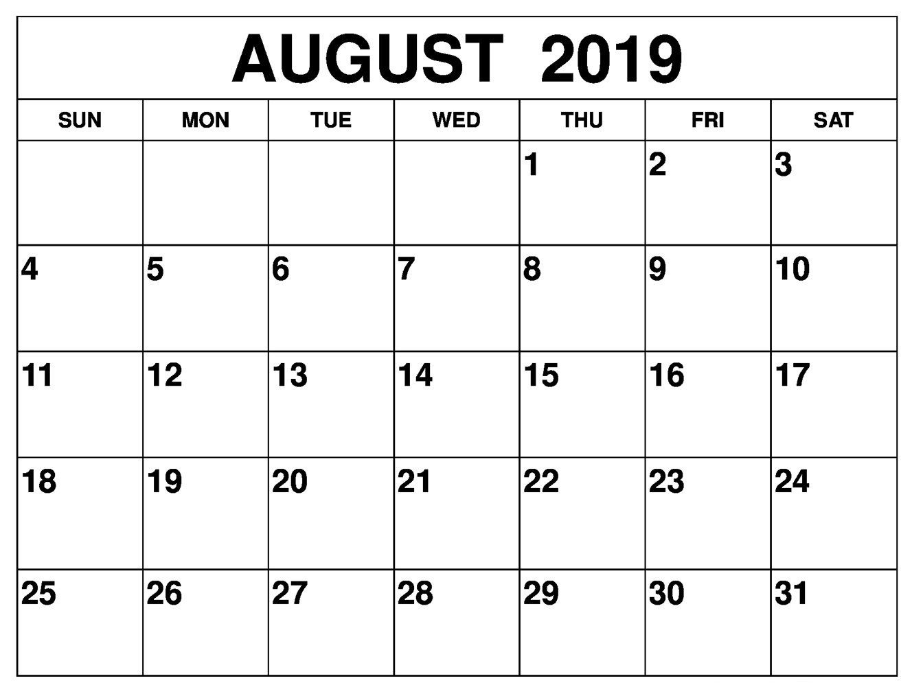 August 2019 Calendar #printables | August 2019 Calendar For Monthly  31 Day Month Calendar Printable