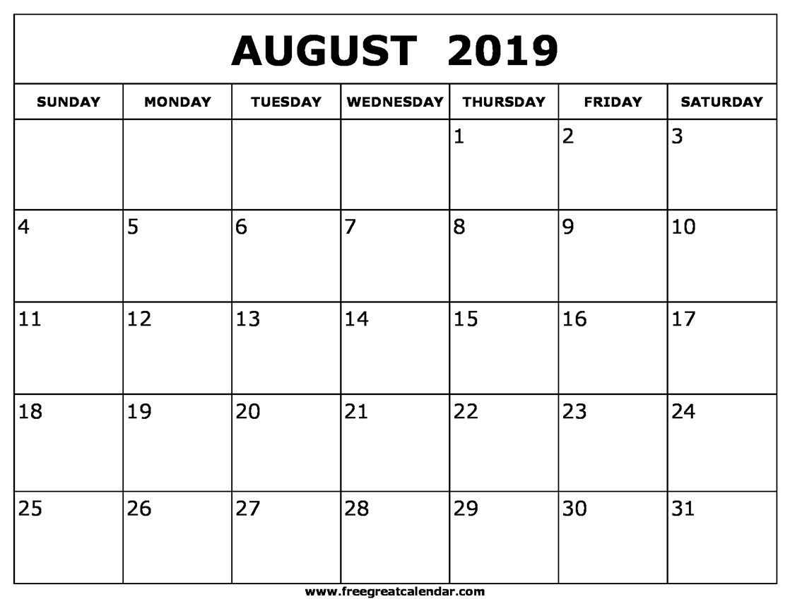 August 2019 Calendar Templates | August 2019 Calendar Printable  31 Day Month Calendar Printable