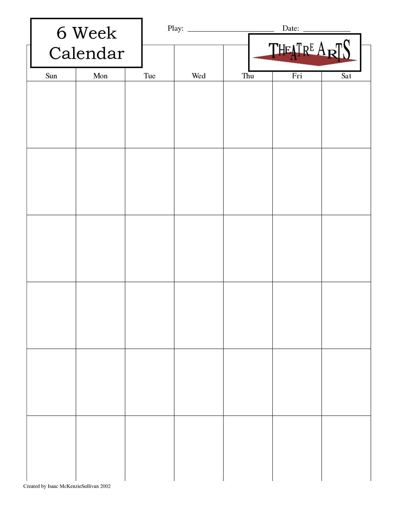 Blank 6 Week Calendar Template With Weeks 25971 Also On 6 Week  Blank 6 Week Calendar Template