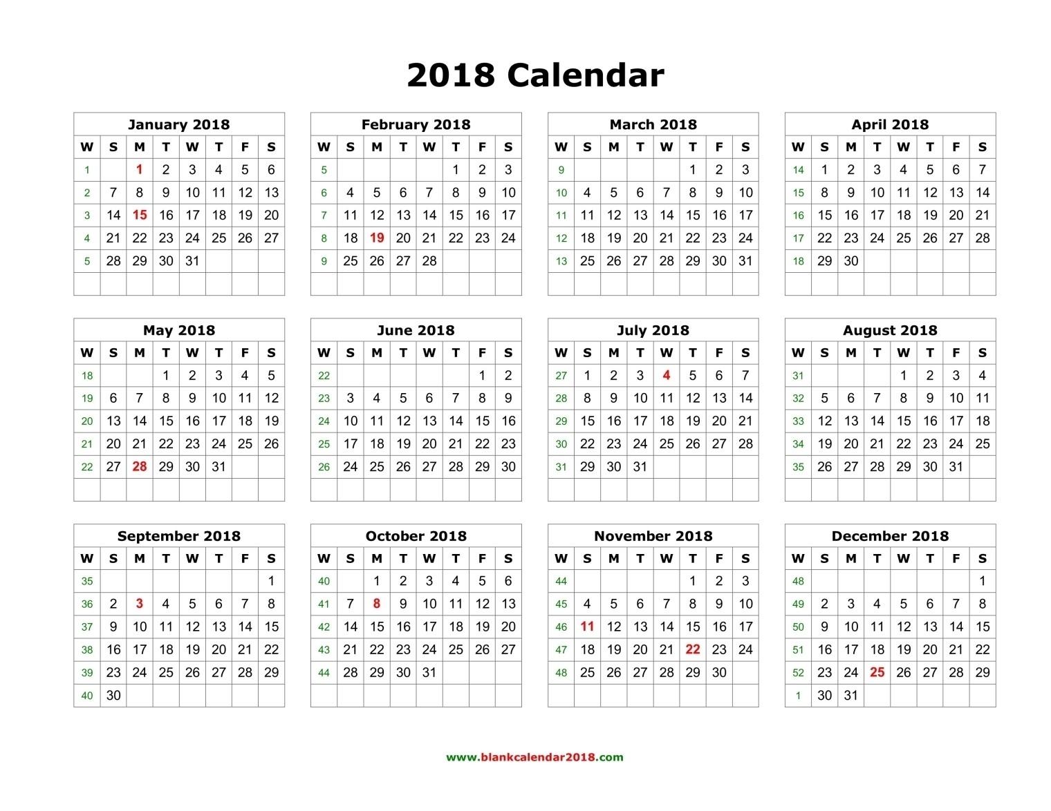 Blank Calendar 2018  Free Printable 12 Month Blank Calendar