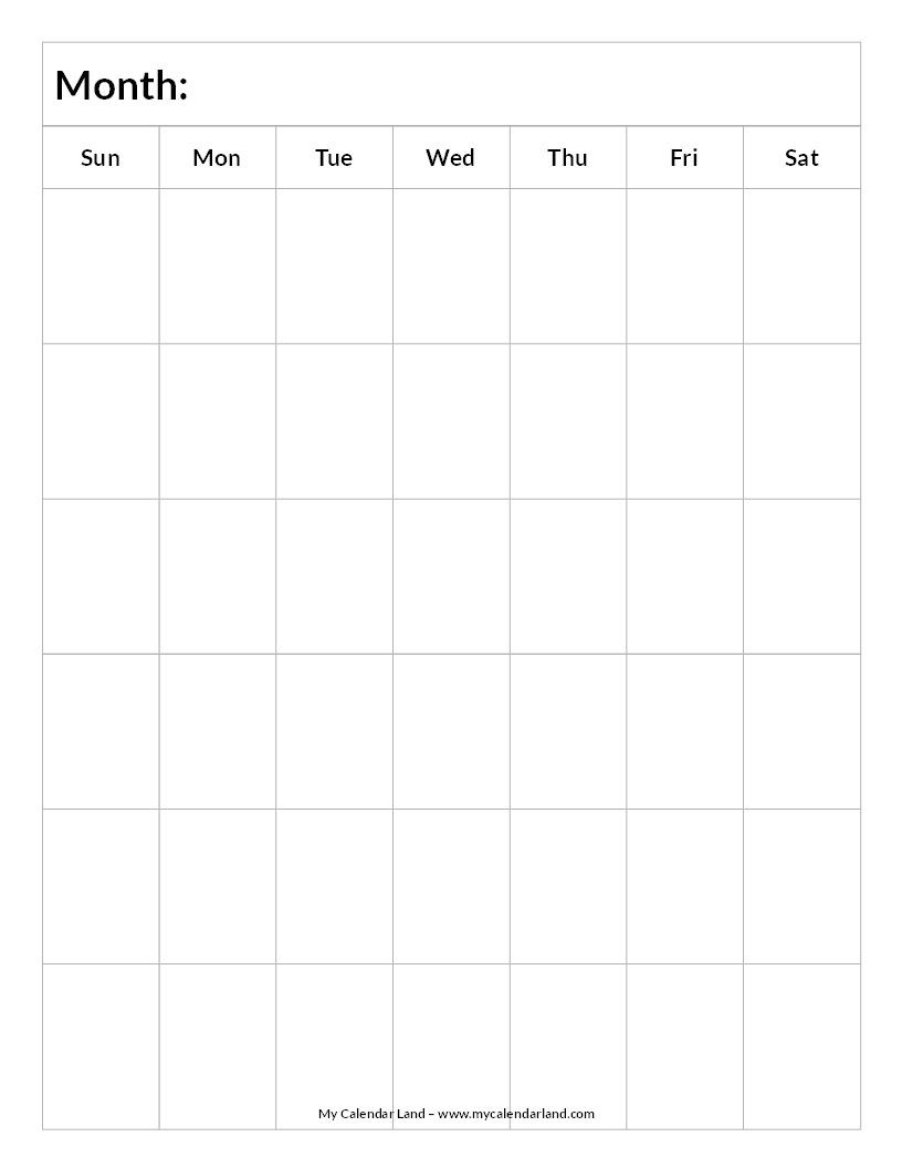 Blank-Calendar-6-Weeks-Portrait-C … | Everything Else.for Now  Blank 6 Week Calendar Template