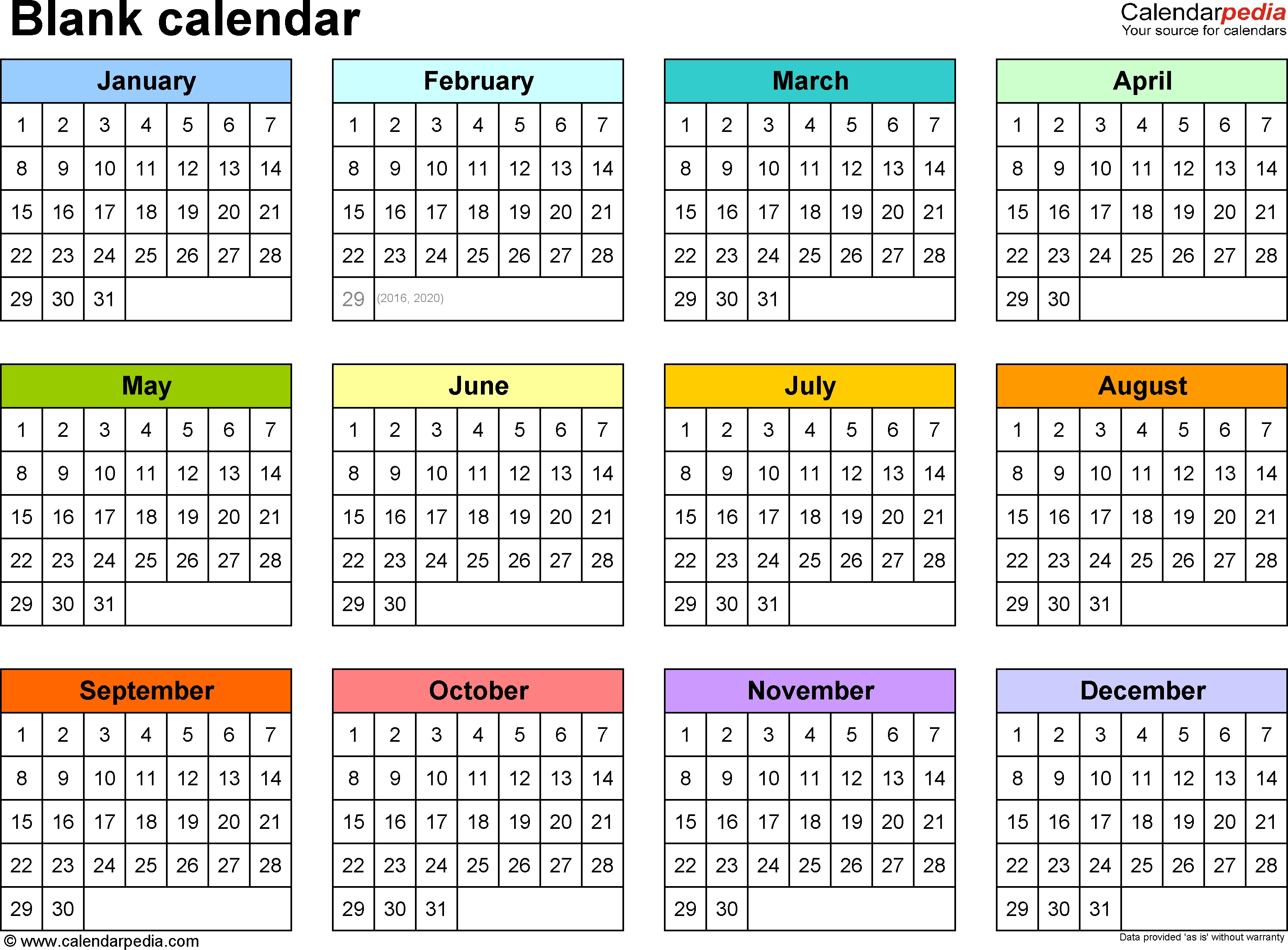 Blank Calendar - 9 Free Printable Microsoft Word Templates  Year At A Glance Calendars Printable