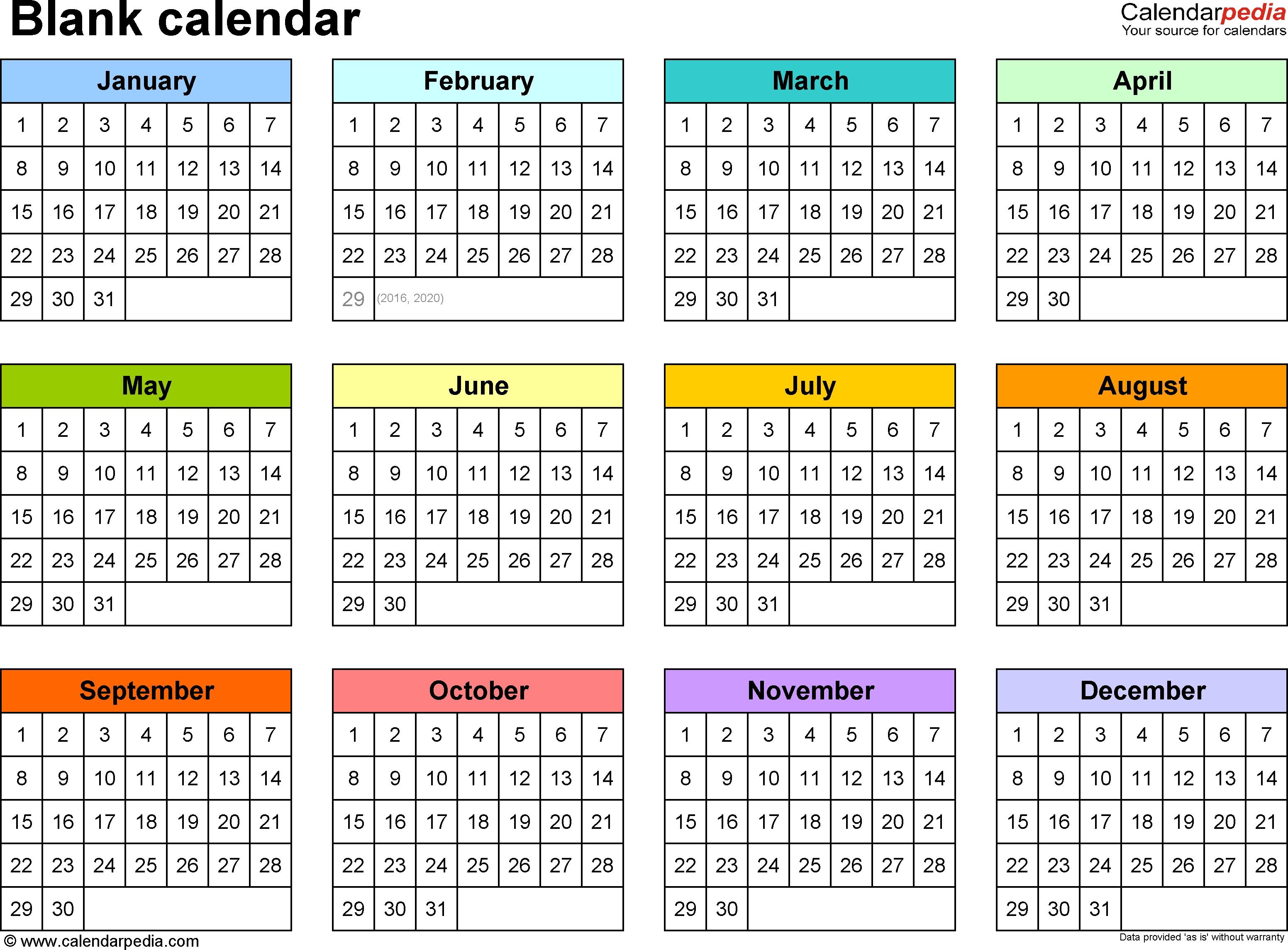Blank Calendar - 9 Free Printable Microsoft Word Templates  Year At A Glance Calendars Printable